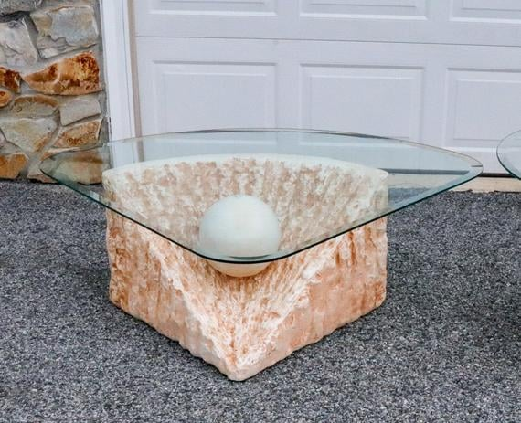 Vintage Plaster and Glass Table