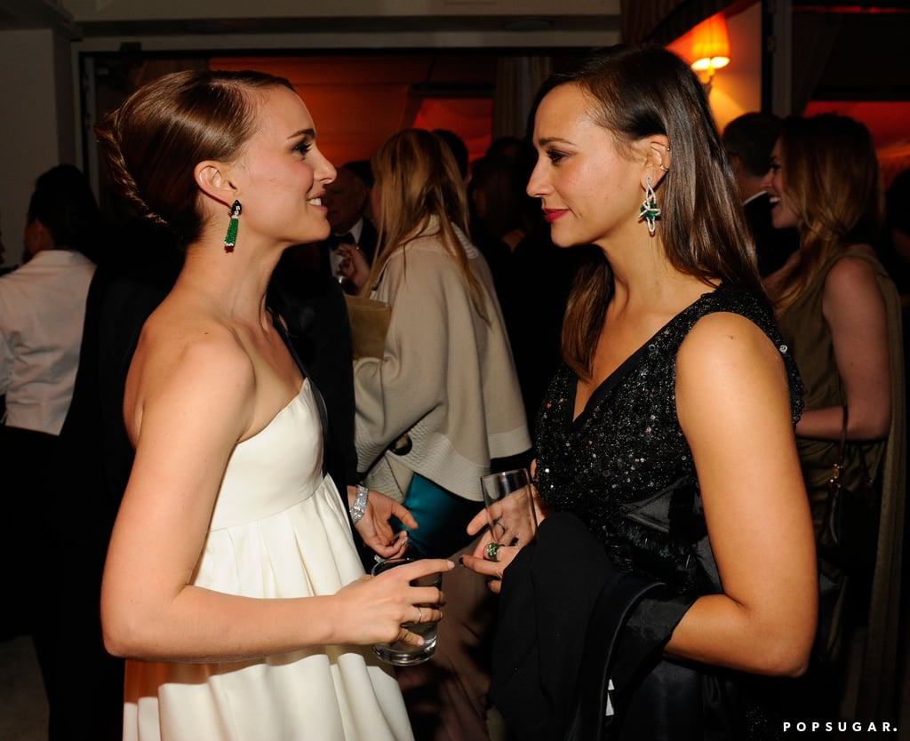 Natalie Portman had a conversation with Rashida Jones at Vanity Fair's Oscar after party.