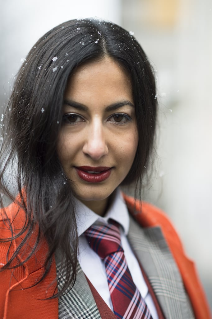 We love the way Nausheen Shah's cherry red lips matched her menswear tie almost perfectly. Source: Le 21ème | Adam Katz Sinding