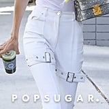 Gigi Hadid White Knee Buckle Jeans