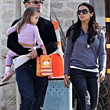 Matt Damon carried his daughter Stella.