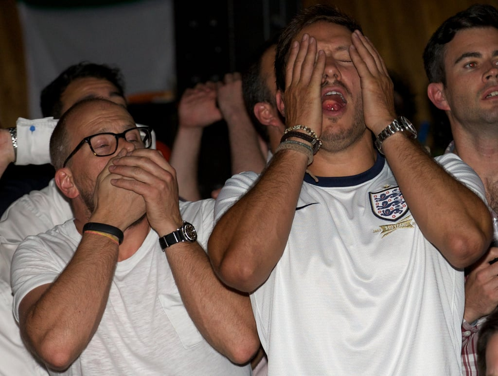 At a London pub, England fans looked worried during the team's game against Uruguay.