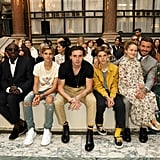 Romeo, Brooklyn, Cruz, Harper, and David Beckham and Anna Wintour at the Victoria Beckham London Fashion Week Show