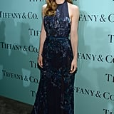 Jessica Biel showed off her love for prints in a navy floral-patterned Elie Saab gown paired with a skinny leather belt and Tiffany & Co. jewels.