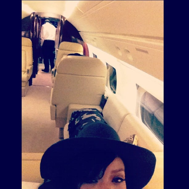 Rihanna took a self pic on her jet in between tour stops. Source: Twitter User Rihanna