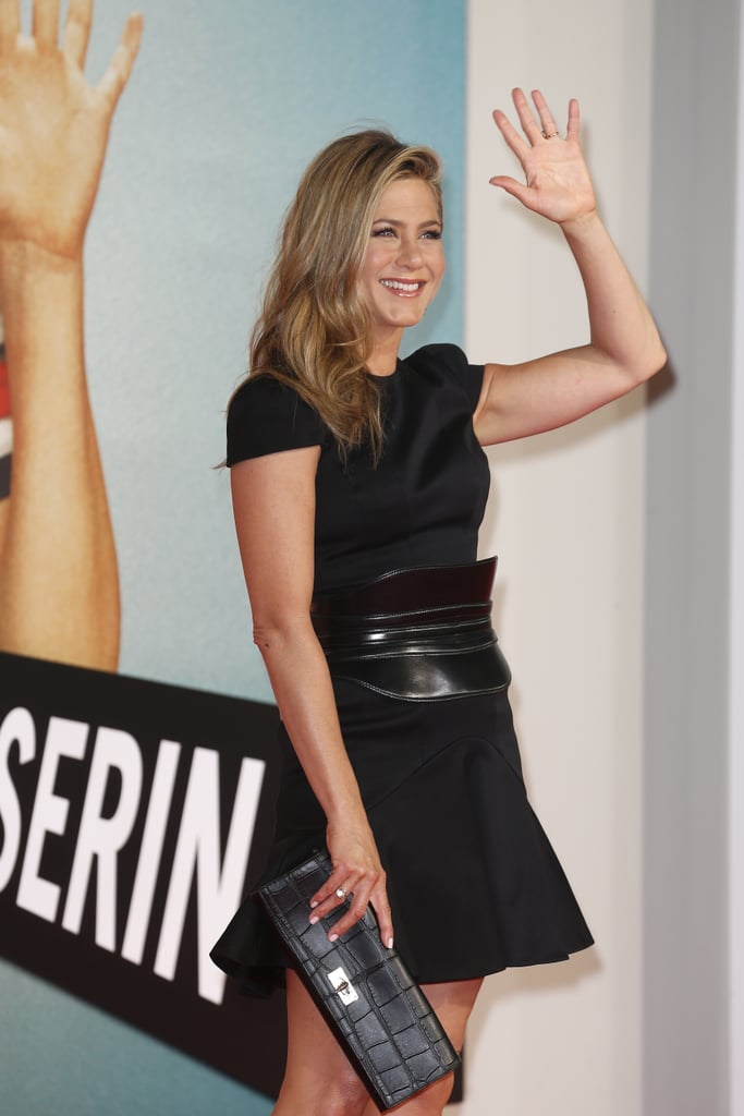Jennifer Aniston waved in Berlin.