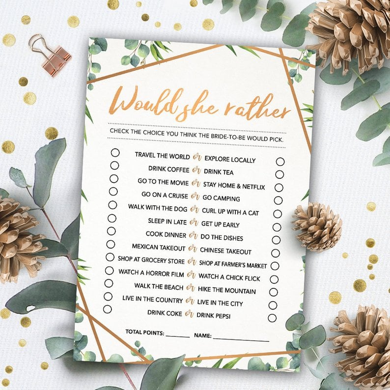 It's just a graphic of Would She Rather Bridal Shower Game Free Printable pertaining to floral