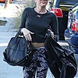 Miley Cyrus showed off her abs in a crop top.