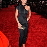 Jessica Szohr wore a form-fitting ensemble to the premiere.