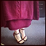 Ali in her new ASOS heels and matching May The Label jumper. Mulberry love.
