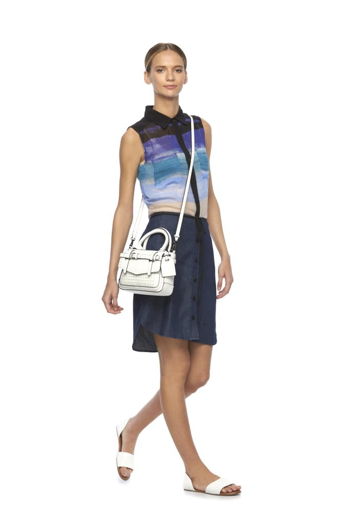 Striped Watercolor Shirt ($50), Chambray Skirt ($50), and Mini Covertible Satchel ($79)