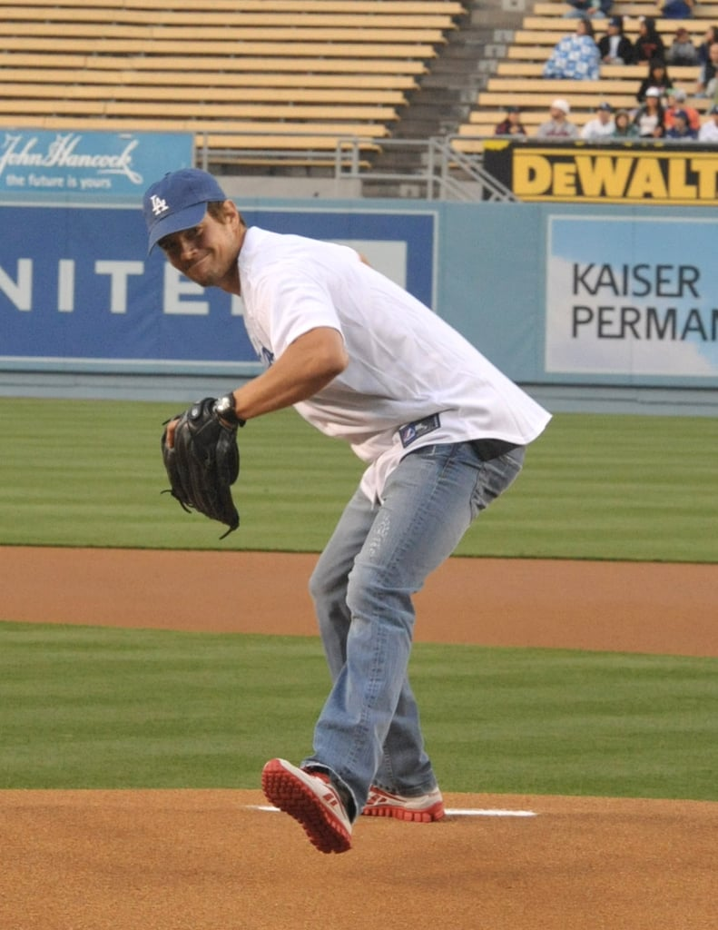 Josh Duhamel showed off his pitching skills for the LA Dodgers in April 2011.