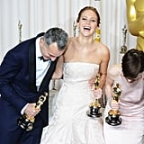 Daniel Day-Lewis, Jennifer Lawrence, and Anne Hathaway couldn't contain themselves in the press room at the Oscars 2013.