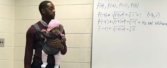 Dad Brings Daughter to College Class