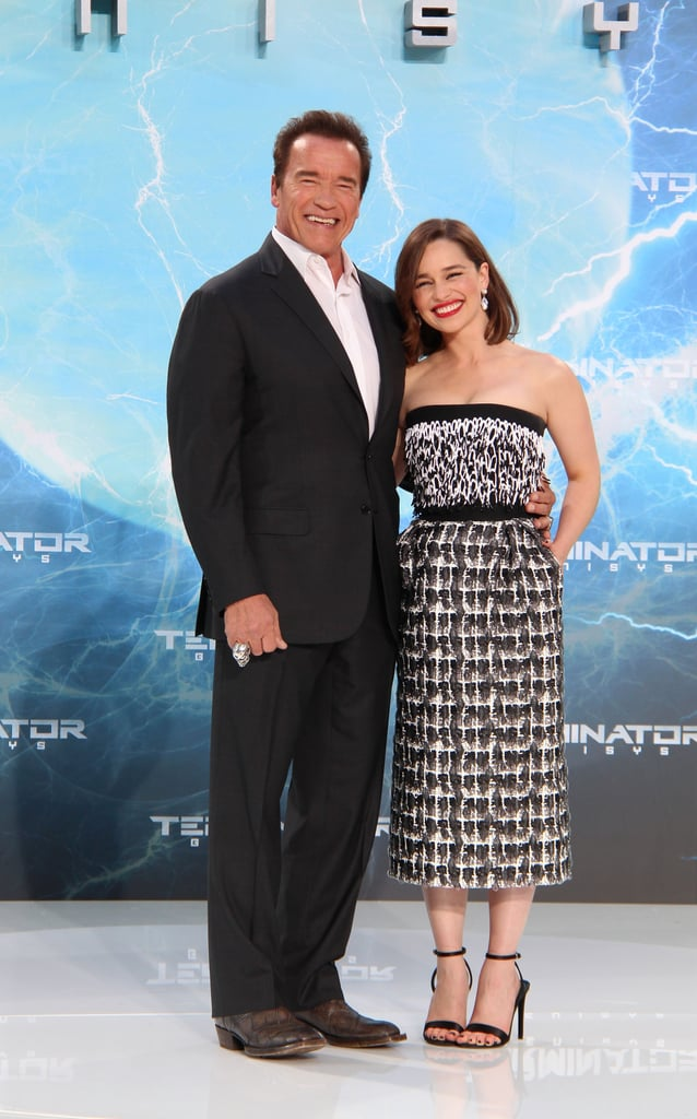 Emilia Clarke looked gorgeous at the premiere of Terminator: Genisys in Berlin on Sunday, flashing a big smile as she posed for pictures on the red carpet. The Game of Thrones actress shared a sweet moment with her costar Arnold Schwarzenegger during their big night, and the pair later linked up with Jai Courtney for a photo.  Although she's busy promoting the new action movie, Emilia has also taken time to chat about the recently wrapped season of Game of Thrones. When she and Arnold appeared on The Graham Norton Show over the weekend, Emilia talked about the shocking season finale before blurting out a hilarious story about one of her sex scenes on the show. Meanwhile, the busy actress also finished up shooting for the film adaptation of the book Me Before You, showing off her hot bikini body alongside costar Sam Claflin. Keep reading for the best pictures of Emilia Clarke at the premiere, then check out the best Daenerys Targaryen GIFs.