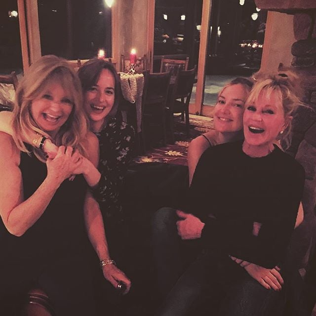 """When it comes to mother-daughter duos, Kate Hudson and Goldie Hawn take the cake for most fun pair. On Tuesday, Melanie Griffith took to Instagram to share a supercute photo from her trip to Aspen, where she was joined by her daughter, Dakota Johnson, and none other than Kate and Goldie. In the snap, which Melanie captioned, """"Goldie, Dakota, Kate and me having some giggles in Aspen! Mother-Daughter times are the best!!!"""" Kate is pictured cuddling up to Melanie while Dakota cozies up to Goldie. Talk about mother-daughter goals! Kate also posted a snap from her winter getaway, featuring pals Erin Foster, Jamie Schneider, Emily Ward, and Jennifer Meyer, as well as Dakota.  Kate has been spending a lot of time with her family lately. Just last month, Kate celebrated her mum's 70th birthday, and shortly after, she spent the Thanksgiving weekend relaxing in lounge chairs with her brothers. Read on to see more photos from the group's holiday, and then check out how the rest of Hollywood is celebrating the Christmas season.   Tall"""