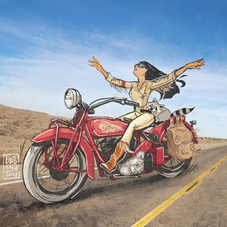 I'd Definitely Want to Join Pocahontas on the Back of This Red Motorcycle