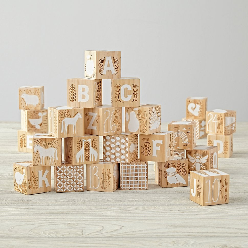 For 1-Year-Olds: Etched Wooden Blocks