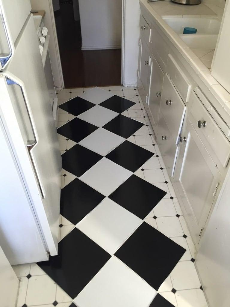 Peel and stick kitchen tiles popsugar home australia for Temporary flooring for renters