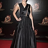 Jennifer Lawrence went vampy with this black Dior Haute Couture pleated dress at The Hunger Games: Catching Fire's premiere in Paris.