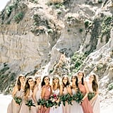 The pale terracotta color of the darkest dresses in this group of bridesmaids paired beautifully with the beiges and creams of the other dresses.
