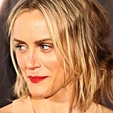 Taylor Schilling wore bright red lips to the premiere for The Lucky One in Melbourne.