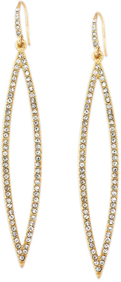 ABS by Allen Schwartz Gold-Tone Pave Crystal Marquise Drop Earrings