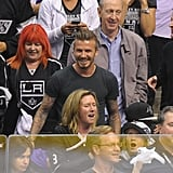 David Beckham looked happy at the LA Kings Stanley Cup final game in LA.
