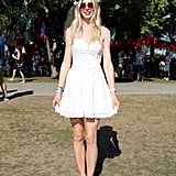 This playful white, A-line Guess dress truly popped under the hot sun in Grant Park.