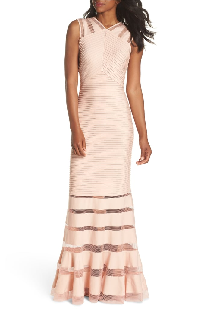 Tadashi Shoji Mesh Inset Pintuck Dress
