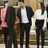 Queen Letizia Wears Chic Cape Look in Madrid