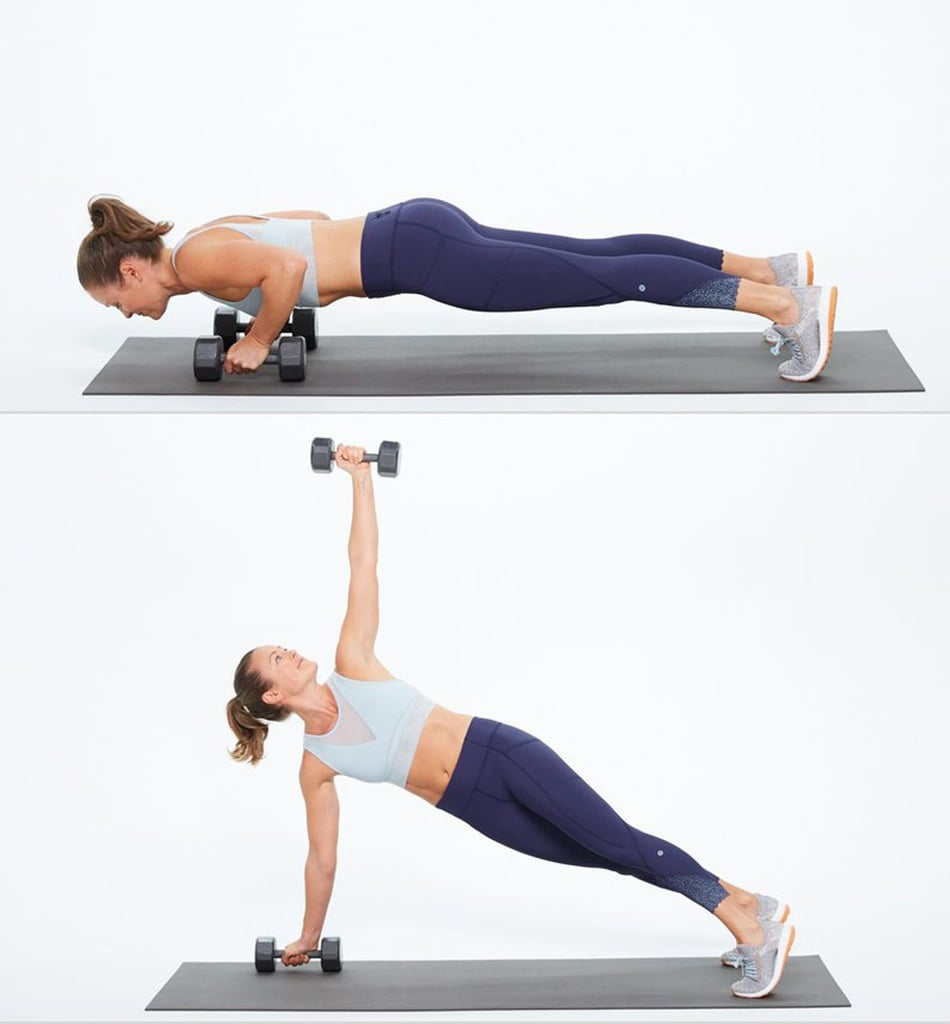 Push-Up Rotation With Dumbbell