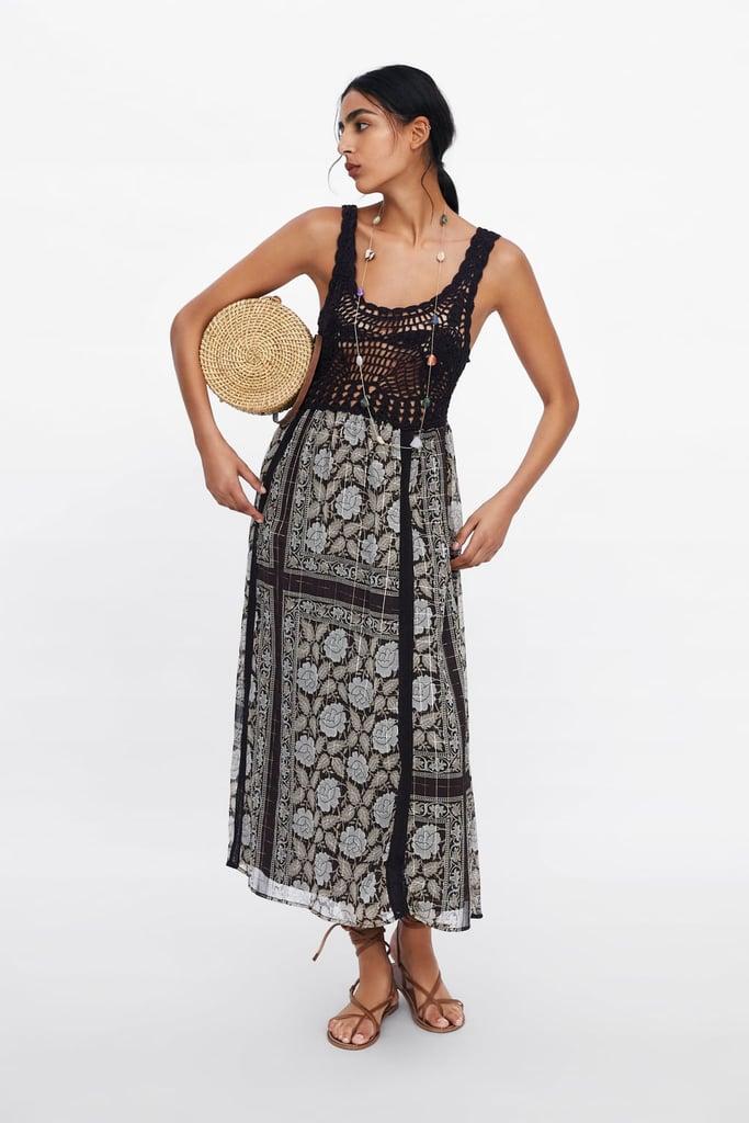 Zara Metallic Thread Printed Dress