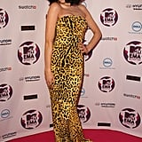 Jessie J spiced up the festivities in a yellow animal print gown.