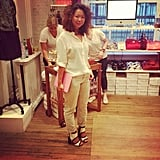 Associate editor Chi Chau paired her Madewell cords with those amazing Michael Kors sandals at the SoHo party.