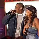 "1999: Beyoncé and Jay Z met. In a 2008 interview with Seventeen magazine, Beyoncé revealed that she was 18 when she and Jay Z first met.  2000: Beyoncé and Jay Z's friendship turned romantic. The couple began dating when Beyoncé was 19. ""We were friends first for a year and a half before we went on any dates,"" Beyoncé told Oprah in 2013. ""We were on the phone for a year and a half, and that foundation is so important for a relationship. Just to have someone who you just like is so important, and someone [who] is honest."" 2001: The couple appeared together on the cover of Vanity Fair's November 2001 music issue. While Jay Z and Beyoncé kept mum about the status of their relationship, Jay Z told the magazine in 2013 that they ""were just beginning to try to date each other"" during that time."
