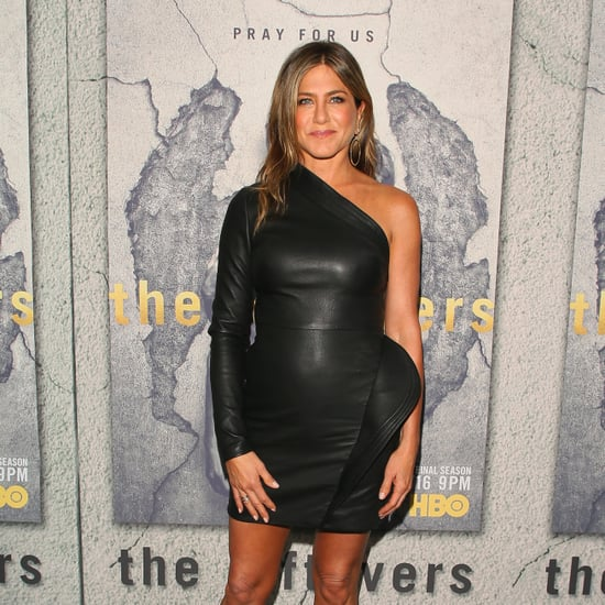 Jennifer Aniston's Black Leather Brandon Maxwell Dress
