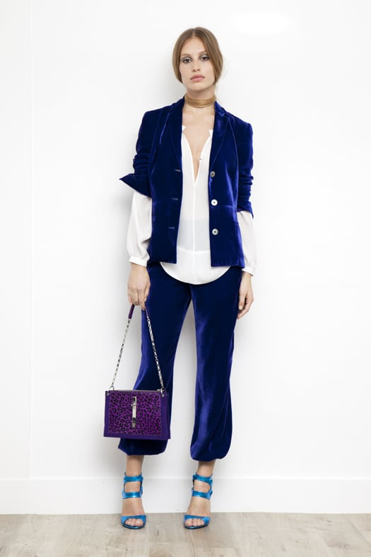Peasant Blouse in Cream Silk ($350), Velvet Short Blazer in Electric Blue ($1,095), Velvet Elastic Bottom Pant in Electric Blue ($695), Fatale Watersnake High Heel Sandal in Turquoise ($995), Attraction Pony Shoulder Bag in Purple Leopard ($1,995) Photo courtesy of Tamara Mellon