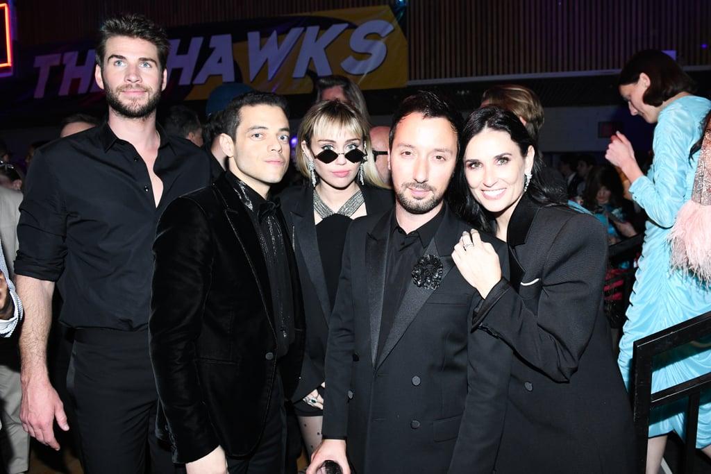 Liam Hemsworth, Rami Malek, Miley Cyrus, Anthony Vaccarello, and Demi Moore