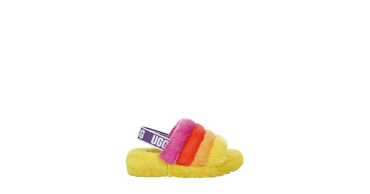 ugg fluff yeah pride rainbow yellow slides