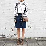A Striped Shirt, a Button-Front Skirt, and Leopard Booties