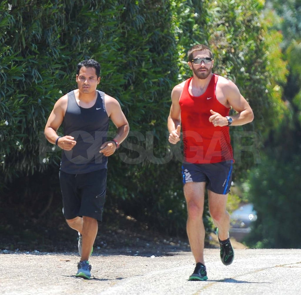 Jake Gyllenhaal and Michael Peña Take a Manly Jog in Tank Tops