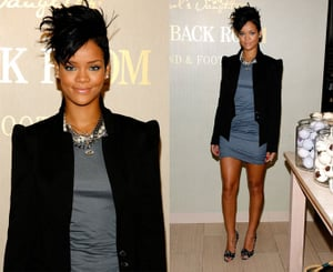Rihanna and LeBron James Visit Carol's Daughter Hand and Foot Spa, Rihanna Wearing a Black Blazer and Gray Dress