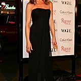 A sheer-panel strapless black gown was Jennifer's go-to for the Rumor Has It premiere in December 2005.