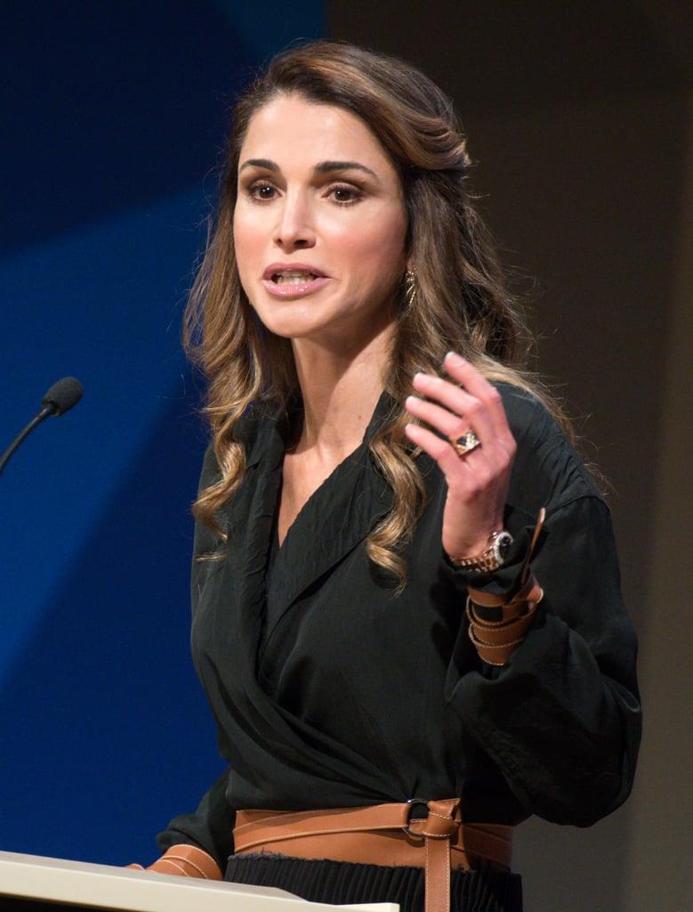 Queen Rania Wearing Brown Belt and Bracelets Oct. 2016