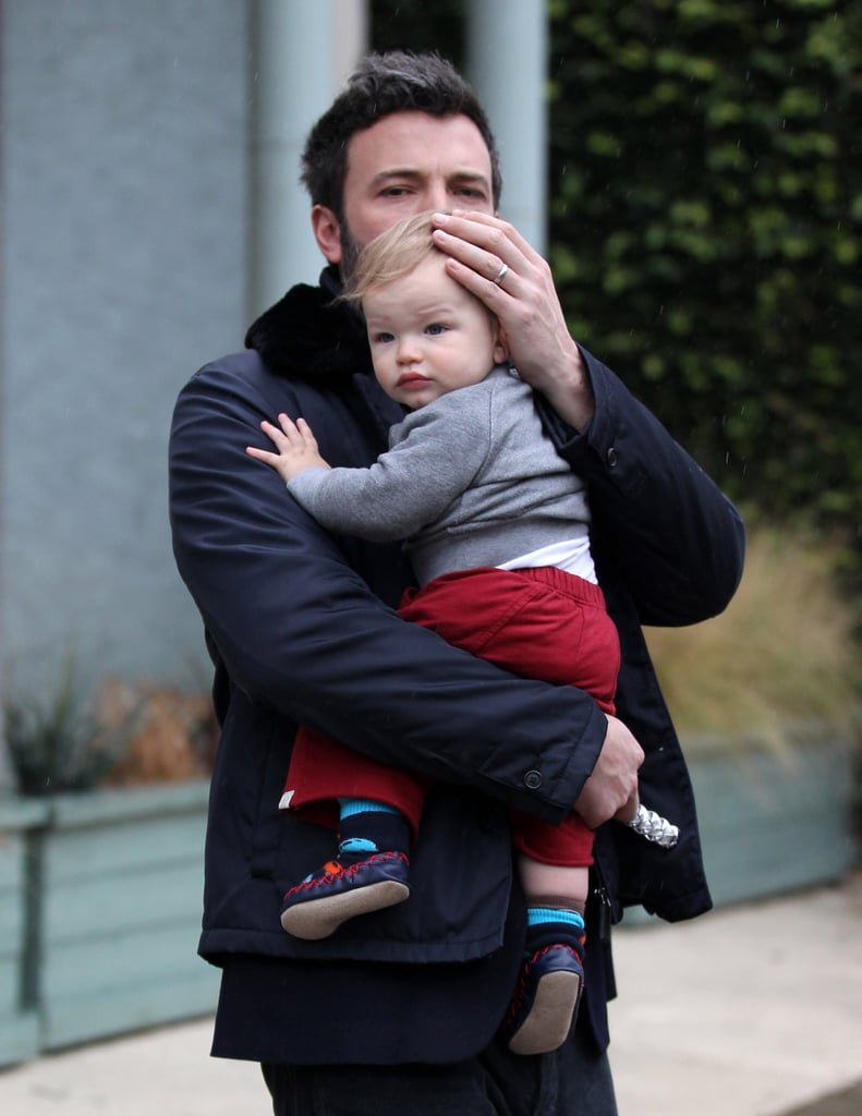 Ben Affleck held baby Samuel close on a rainy LA day in January 2013.