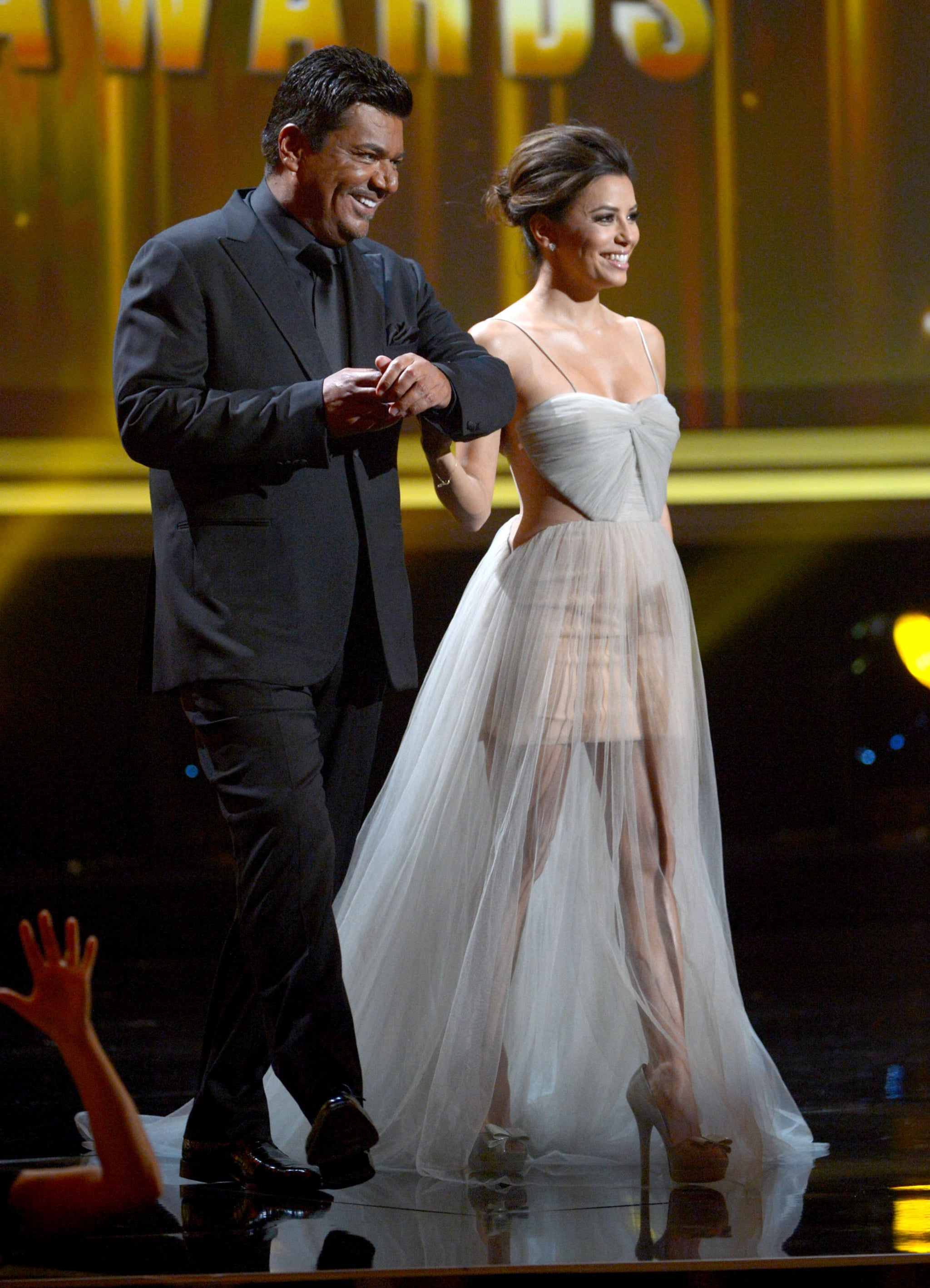 George Lopez escorted Eva Longoria out on the stage.