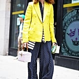 With a Bright Blazer And Printed Pants