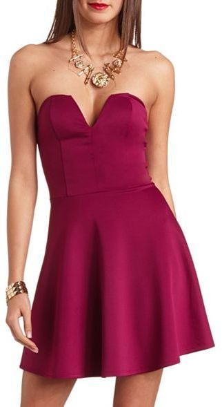Charlotte Russe Plunging Sweetheart Neckline Strapless Scuba Dress