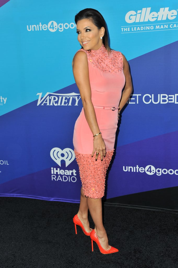 Eva Longoria was pretty in pink.